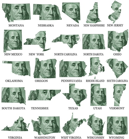 American States From M to W  money maps on a white background photo