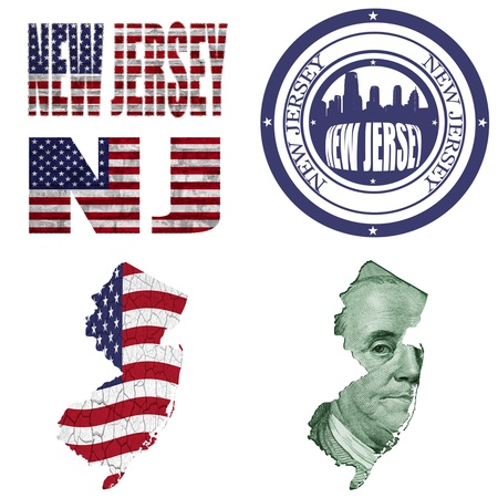 new jersey: New Jersey state collage (map, stamp,word,abbreviation) in different styles in different textures Stock Photo
