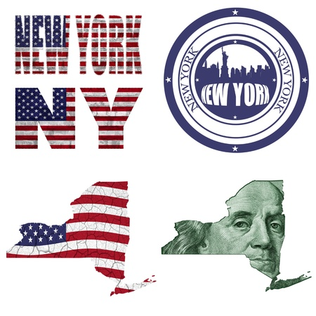 New York state collage (map, stamp,word,abbreviation) in different styles in different textures photo