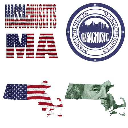 Massachusetts state collage (map, stamp,word,abbreviation) in different styles in different textures photo