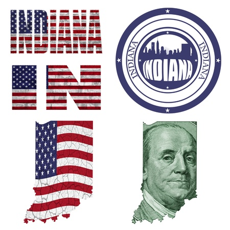 Indiana state collage (map, stamp,word,abbreviation) in different styles in different textures photo