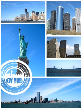 New York City postcard collage on white background photo
