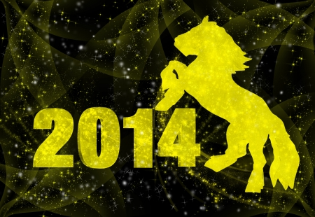 wreathe: New 2014 Year inscription and a horse on a black background