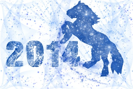 wreathe: New 2014 Year inscription and a horse on a white background Stock Photo