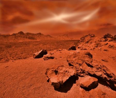 녹슨 오렌지 그늘에서 환상적인 화성의 풍경