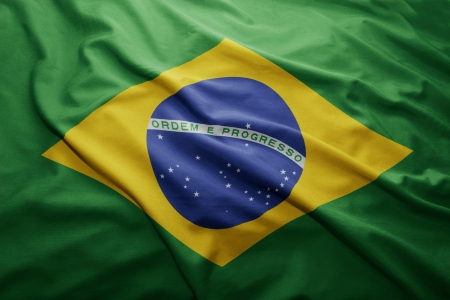 Waving colorful Brazilian flag photo