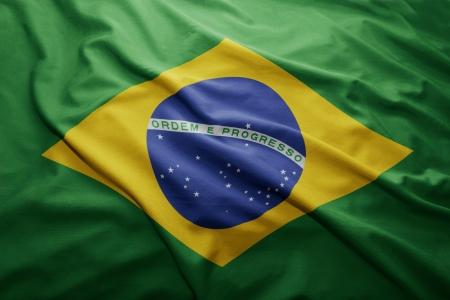 brazilian flag: Waving colorful Brazilian flag