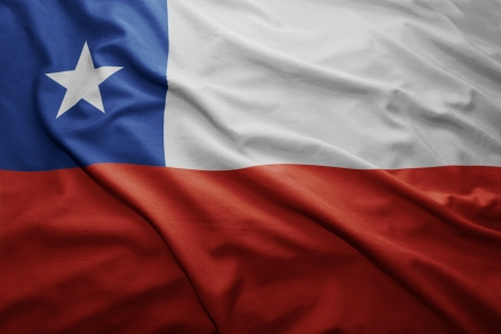 chilean flag: Waving colorful Chilean flag