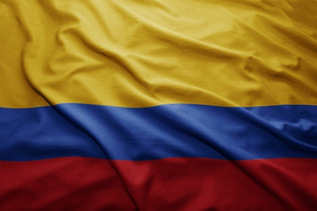 Waving colorful Colombian flag Stock Photo