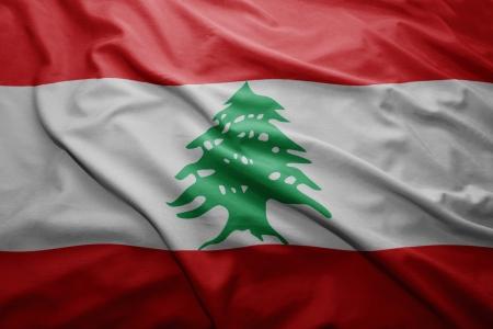 Waving colorful Lebanese flag