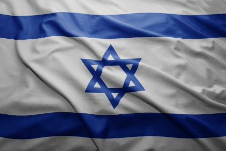 israel flag: Waving colorful Israeli flag