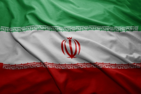 Waving colorful Iranian flag photo