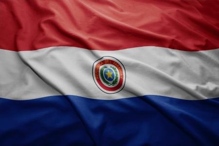 paraguayan: Waving colorful Paraguayan flag Stock Photo