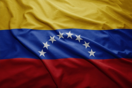 venezuelan: Waving colorful Venezuelan flag Stock Photo