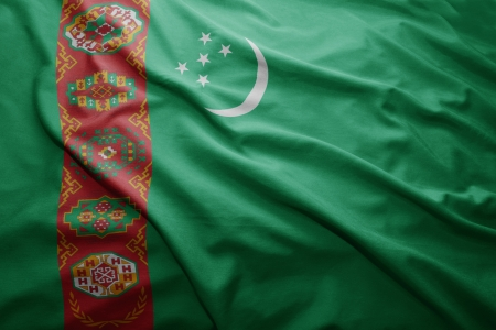pennon: Waving colorful Turkmenistan flag Stock Photo