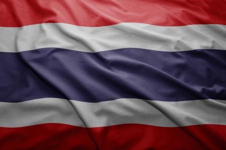 Waving colorful Thai flag photo