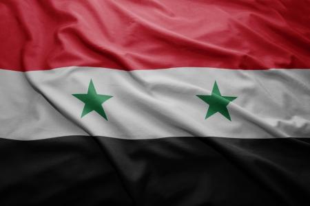 Syryjski: Machając kolorową flagą Syrii Zdjęcie Seryjne