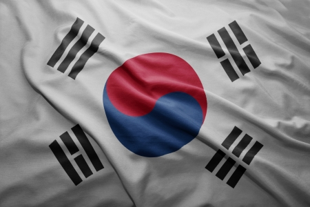 Waving colorful South Korea flag Stock Photo - 22547215