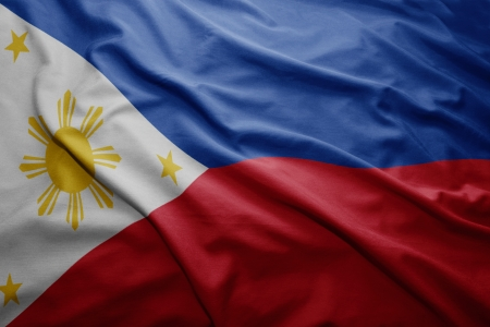 philippine: Waving colorful Philippine flag Stock Photo