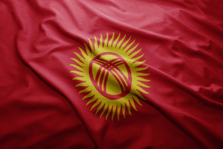 pennon: Waving colorful Kyrgyzstan flag Stock Photo