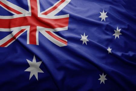 Waving colorful Australian flag Stock Photo