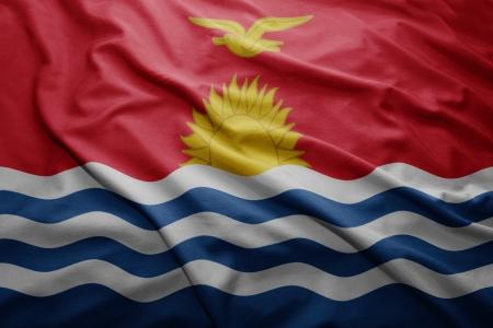 kiribati: Waving colorful Kiribati flag