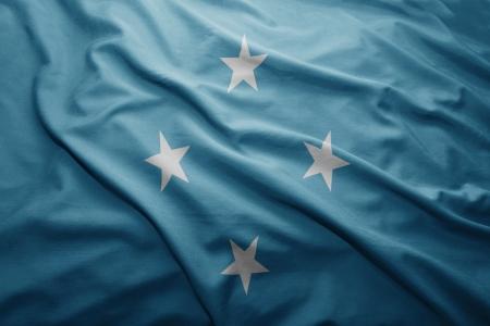 micronesia: Waving colorful Federated States of Micronesia flag