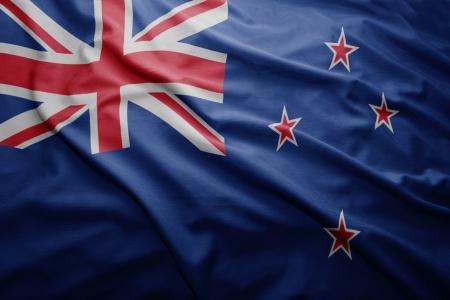 bandera de nueva zelanda: Saludar con la mano colorida bandera de Nueva Zelanda Foto de archivo
