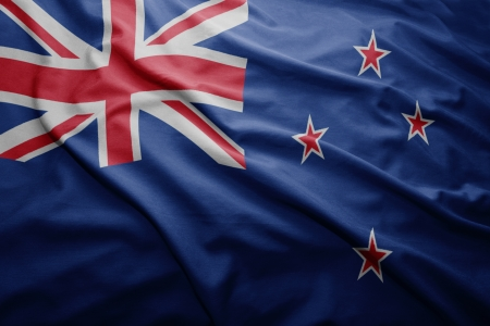 new zealand: Waving colorful New Zealand flag Stock Photo