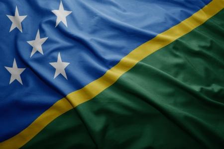 solomon: Waving colorful Solomon Islands flag