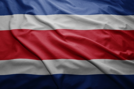 costa rican flag: Waving colorful Costa Rican flag Stock Photo