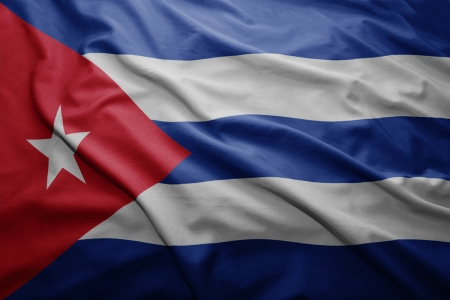 cuban flag: Waving colorful Cuban flag