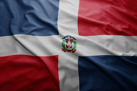 dominican republic: Waving colorful Dominican Republic flag Stock Photo