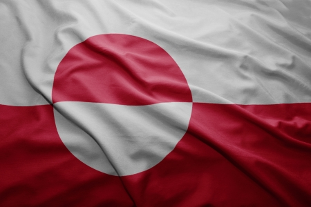 Waving colorful Greenlandic flag photo