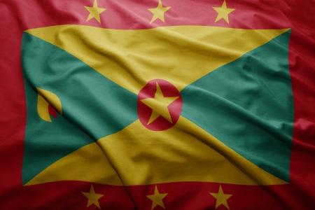 grenada: Waving colorful Grenada flag