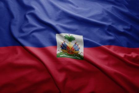 Waving colorful Haitian flag photo