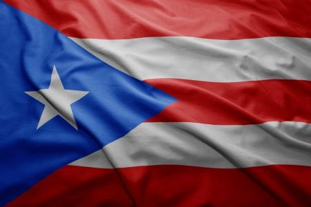 bandera de puerto rico: Saludar con la mano colorida bandera de Puerto Rico Foto de archivo