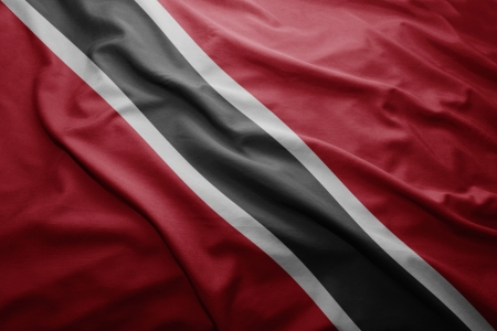 Waving colorful Trinidadian flag photo