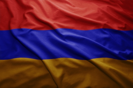 armenian: Waving colorful Armenian flag Stock Photo