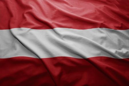 austrian flag: Waving colorful Austrian flag