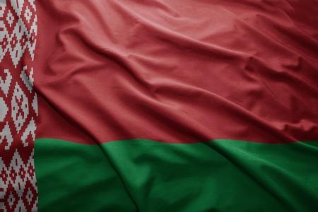 belorussian: Waving colorful Belorussian flag