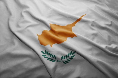pennon: Waving colorful Cypriot flag Stock Photo