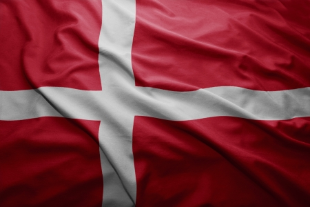 danish flag: Waving colorful Danish flag Stock Photo