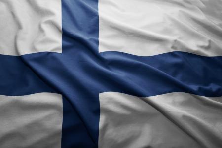 finnish: Waving colorful Finnish flag