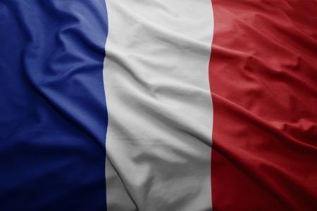 frances: Saludar con la mano colorida bandera francesa Foto de archivo