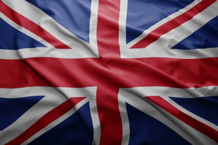 british flag: Waving colorful British flag