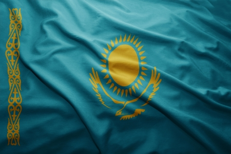 kazakhstan: Waving colorful Kazakhstan flag Stock Photo