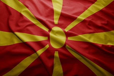 pennon: Waving colorful Macedonian flag Stock Photo