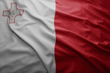 malta flag: Waving colorful Maltese flag