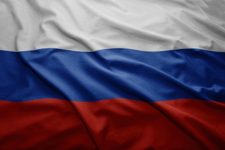 Waving colorful Russian flag Stock Photo
